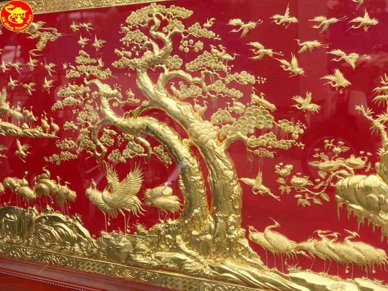 tranh trăm hạc mạ vàng
